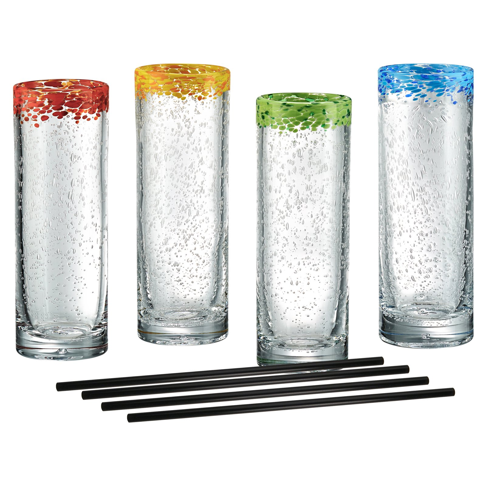 Artland Mingle Coolers with Reusable Straws - Set of 4