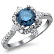 Noori Collection Noori 18k White Gold 1 1/4 ct TDW Blue Round Diamond Vintage Style Ring