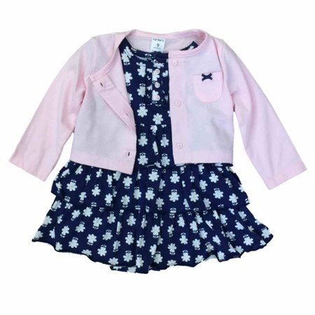 Carters Infant Girls Baby Outfit Blue Ruffle Floral Dress & Pink Sweater 9m