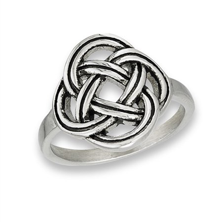 Celtic Infinity Woven Knot Weave Promise Ring Stainless Steel Band Size 7