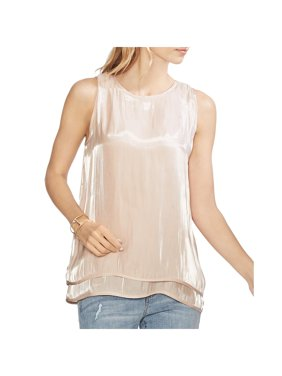 Vince Camuto Womens Tiered Crew Neck Tank Top