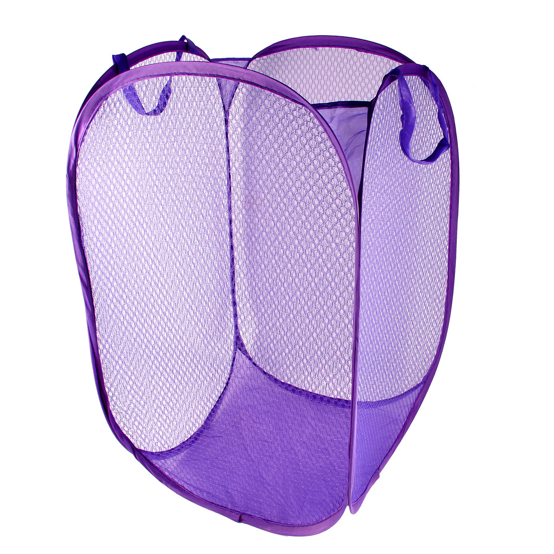 House Compact Pop Up Mesh Foldable Laundry Basket Bag Bin Hamper Storage Purple