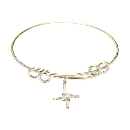 8 1 2 Inch Round Double Loop Bangle Bracelet W  St  Brigid Cross Charm Gold Filled Medal