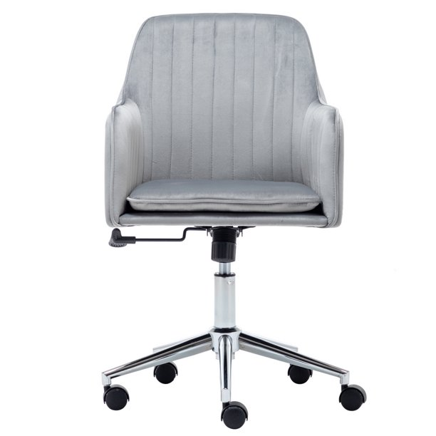 Velvet Fabric Home Office Desk Chair, Grey Fabric Desk Chair With Arms
