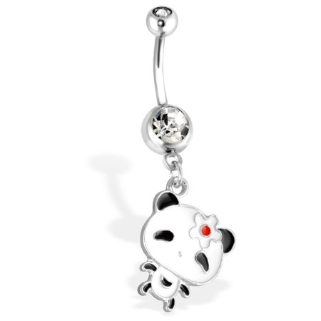 - Panda With Large Head And Flower Hair Pin Dangle Surgical Steel Navel Ring