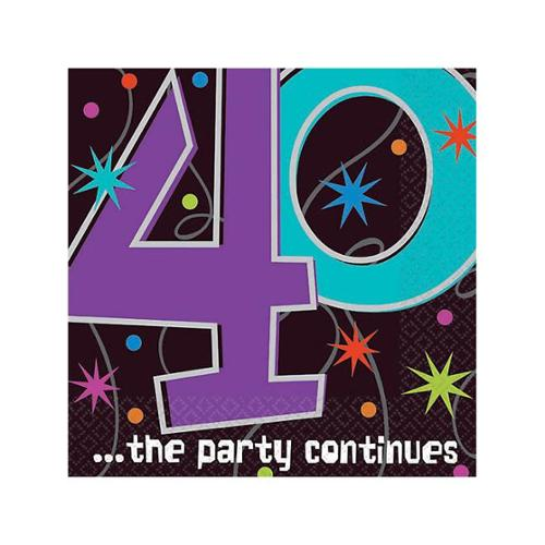 The Party Continues 40th Birthday Beverage Napkins - Party Supplies