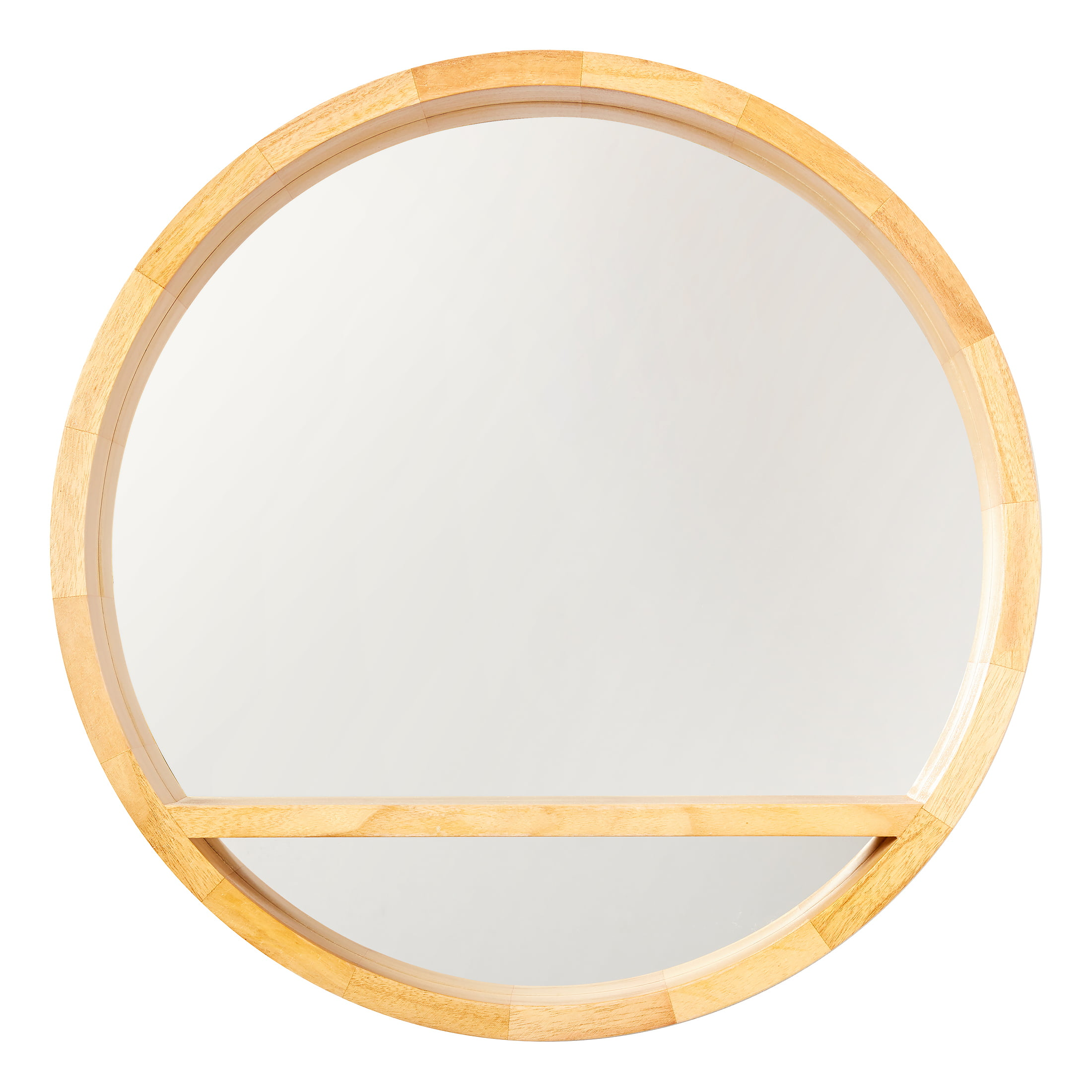 Drew Barrymore Flower Home 21 5 Diameter Round Wood Wall Mirror With Shelf Walmart Com Walmart Com