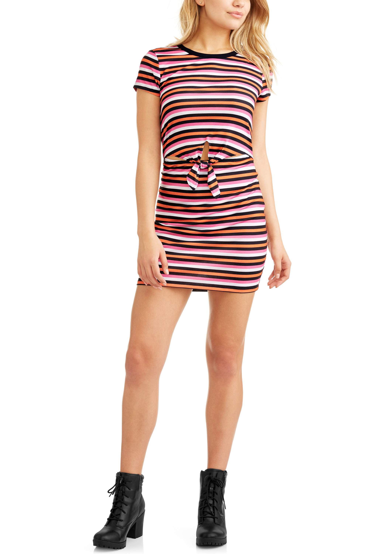 No Boundaries Juniors' Striped T-Shirt Dress