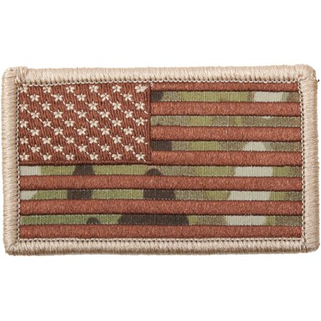 Multicam Camouflage - US Flag Patch with Hook Back USA Made