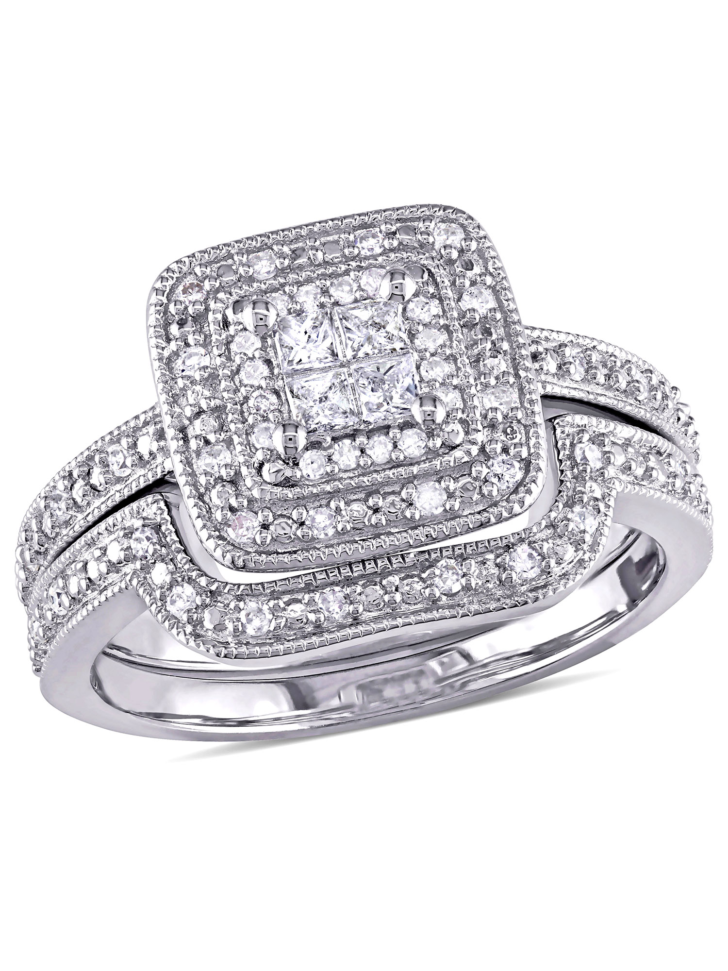 Miabella 1/3 Carat T.W. Princess and Round Cut Diamond Sterling Silver Double Halo Bridal Set