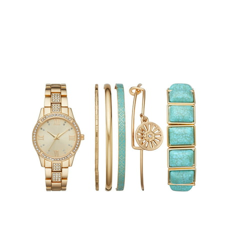 Ladies' Gold and Turq Watch and Stackable Bracelet Gift Set