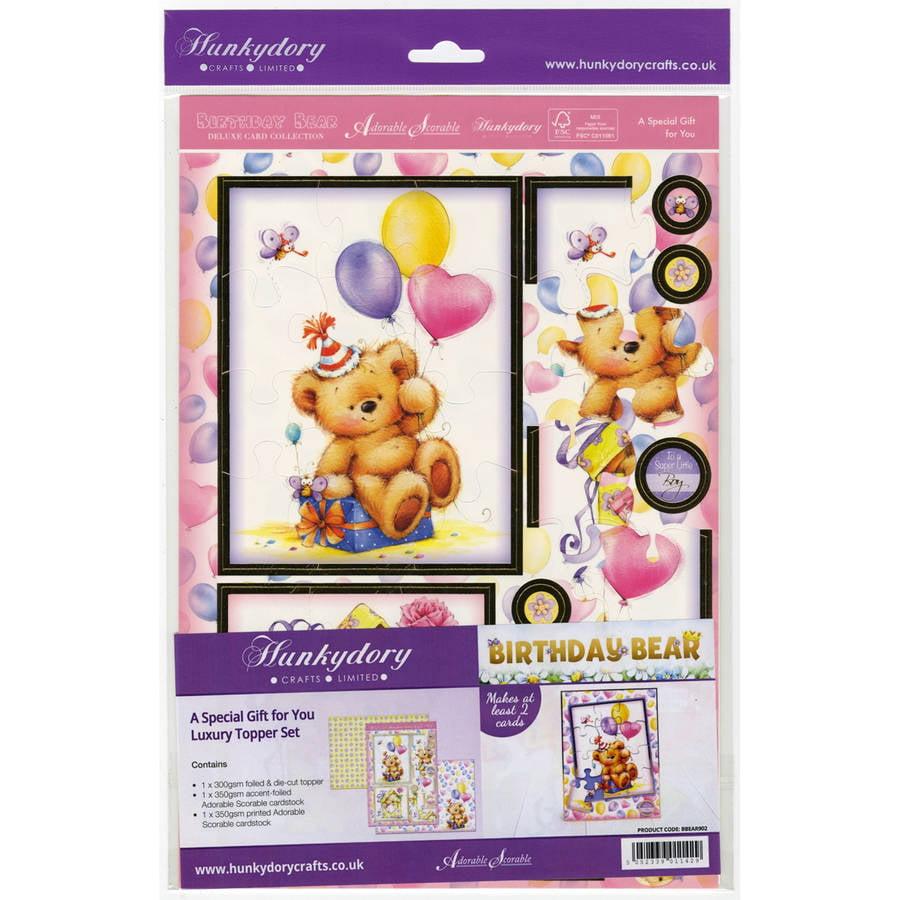 Cute Birthday Bear A4 Topper Set