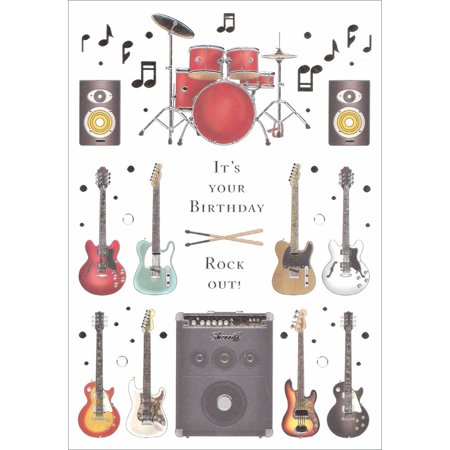Quire Electric Guitars, Drums and Amplifier Birthday Card for Anyone