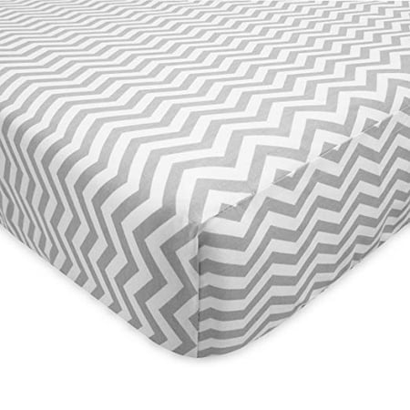 Flannel Porta Crib Sheet (TL Care 100 Percent Cotton Flannel Fitted Crib Sheet for Standard Crib and Toddler Mattresses, Gray Zigzag, for Boys and Girls )