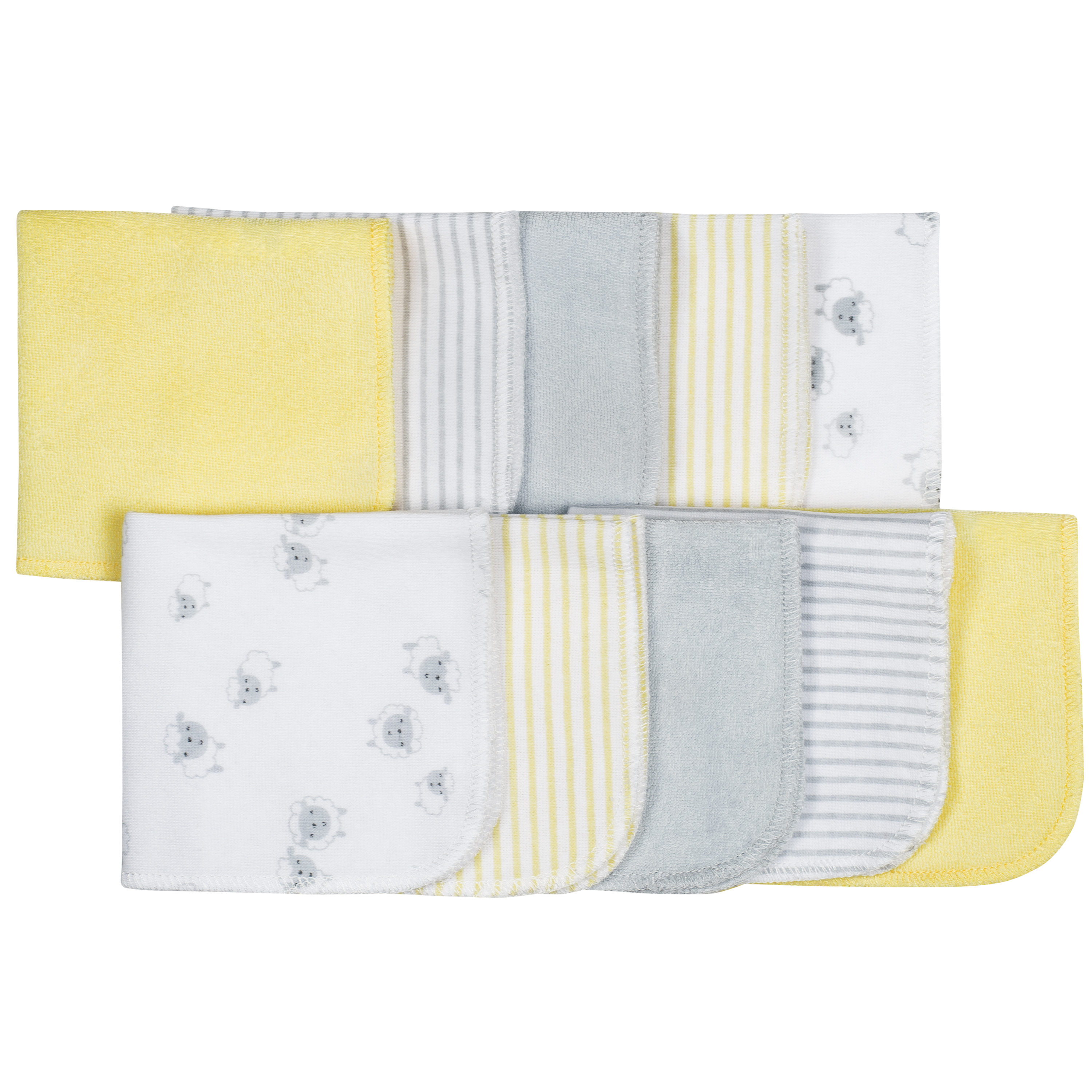 Gerber Baby Assorted Terry Washcloths, Lamb, 10 Pack
