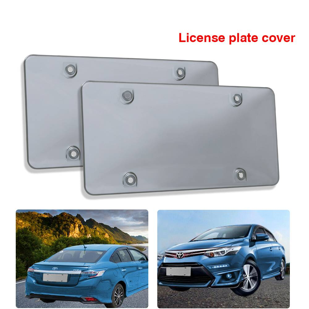 Car Clear Tinted License Plate Cover Smoked Bubble Shield Tag Black Accessories