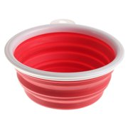 Pet Dog Cat Collapsible Bowl Silicone Travel Dish Feeding Food Water Feeder,Red color