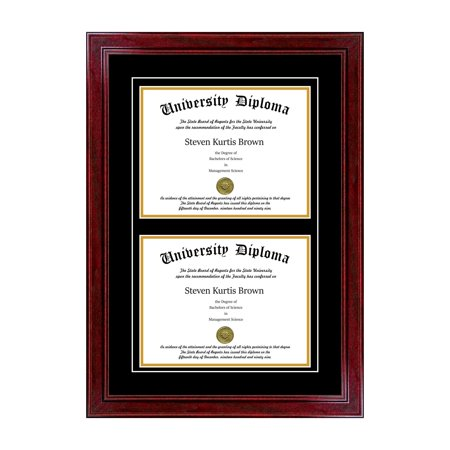 Brown Mahogany Frame (Double Diploma Frame with Double Matting for 8.5