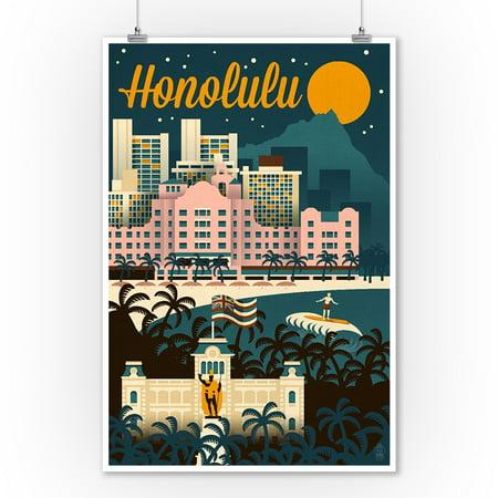Honolulu, Hawaii - Retro Skyline - Lantern Press Artwork (9x12 Art Print, Wall Decor Travel Poster) (Retro Hawaiian Decor)