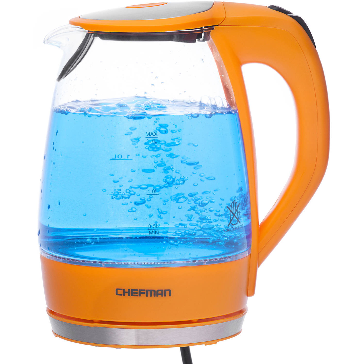 Chefman Electric Glass Cordless Kettle, Orange
