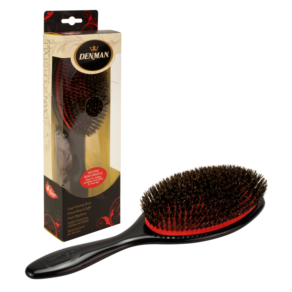 Denman Large Natural Boar Bristle Cushion Grooming Brush, BLACK, P082LBLK