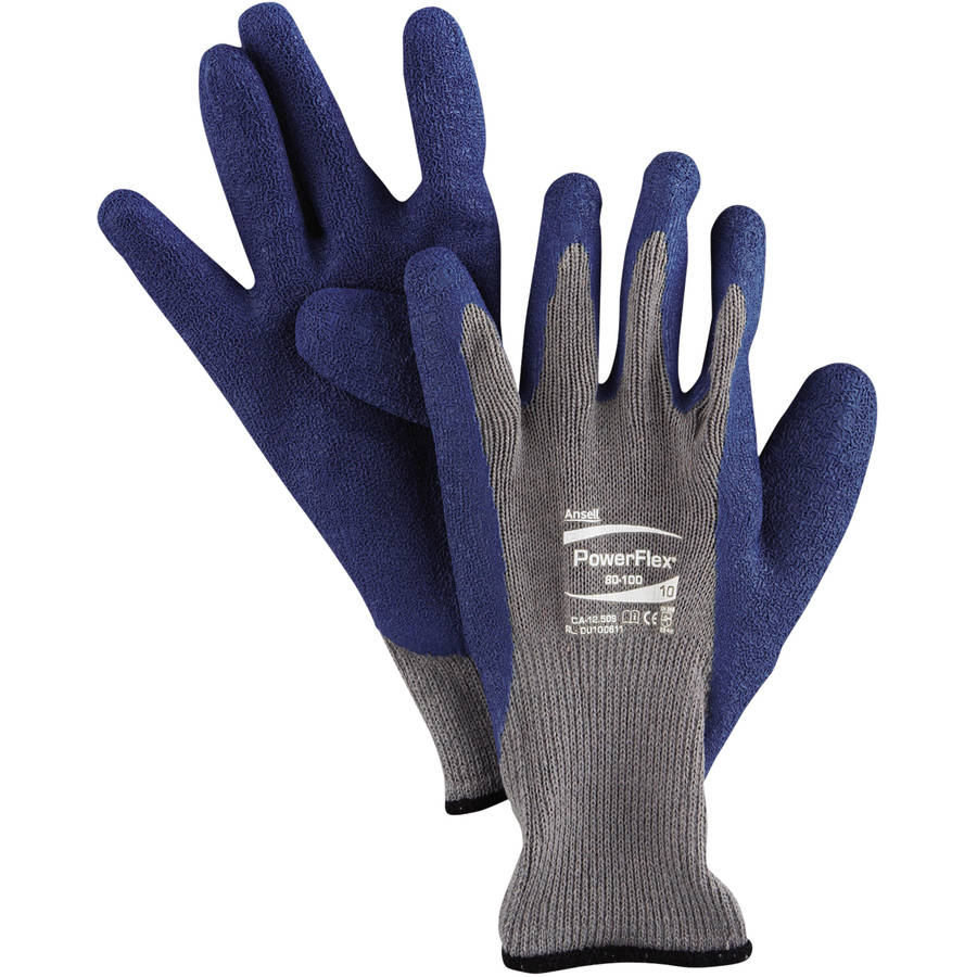 Ansell PowerFlex Gloves, Size 10, Blue/Gray, 12 count