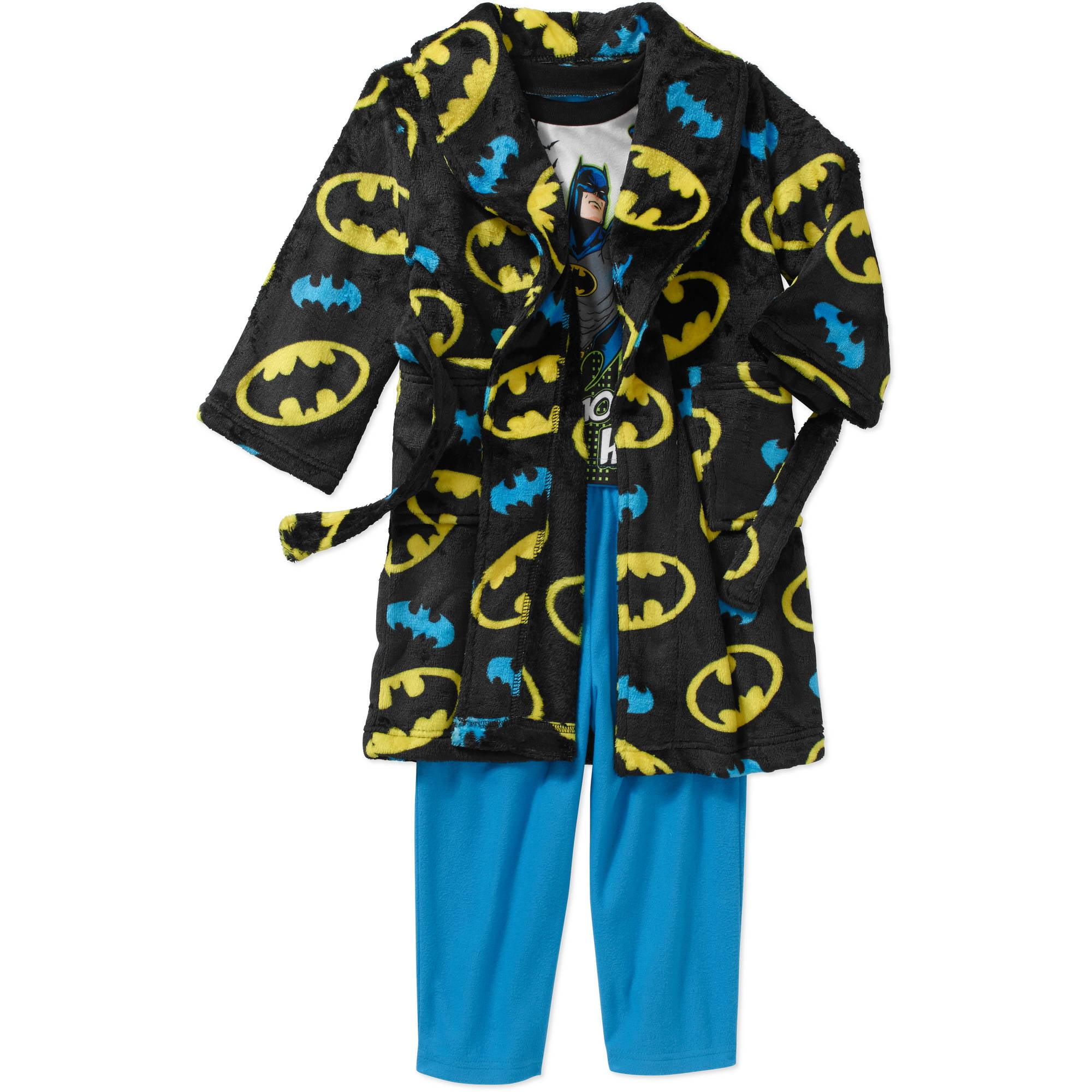 Batman Toddler Boy Robe and Pajama 3-Piece Sleepwear Gift ...