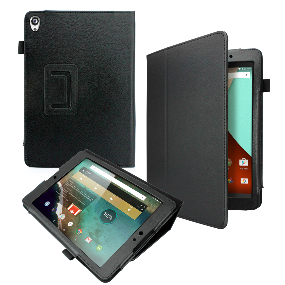PU Leather Flip Case Stand Folio Cover Shell for Google Nexus 9 Tablet - Black