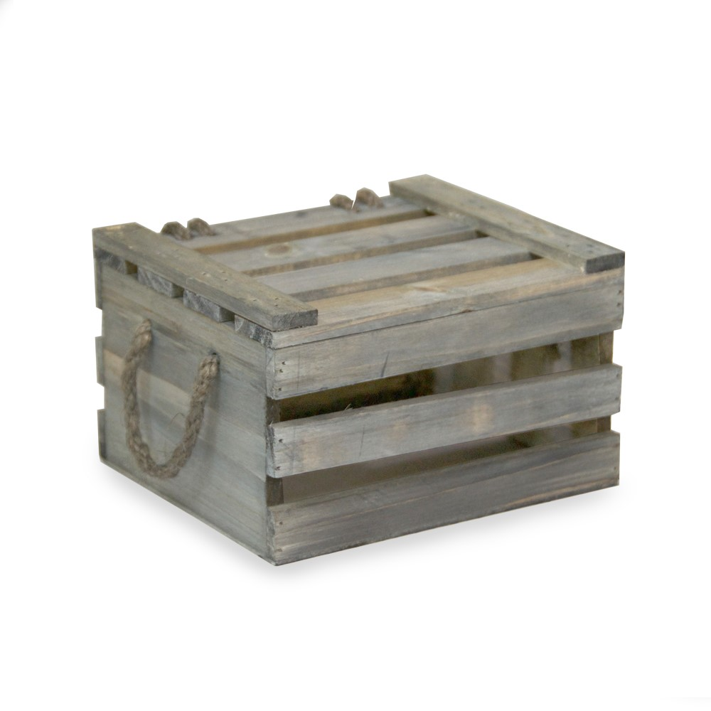 Antique Green Wooden Crate Storage Box with Lid Small 7in