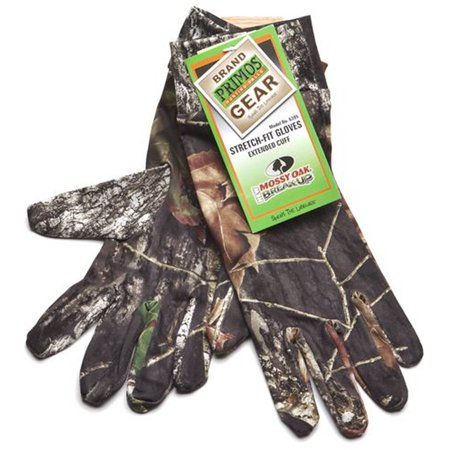 Primos Stretch Fit Gloves With Extended Cuff  Mossy Oak New Break Up  6395
