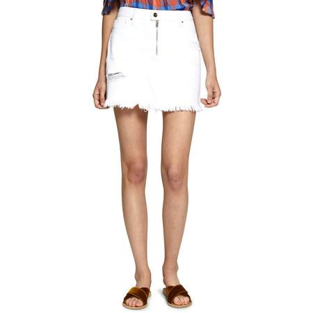 Sanctuary Denim Womens Frayed Distressed Denim Skirt (Womens Distressed Denim Skirt)