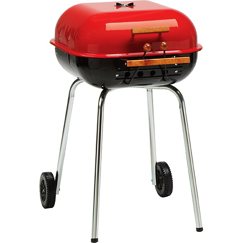 Meco Americana 21-inch, Charcoal BBQ Grill, with Adjustable Cooking Grate, Red