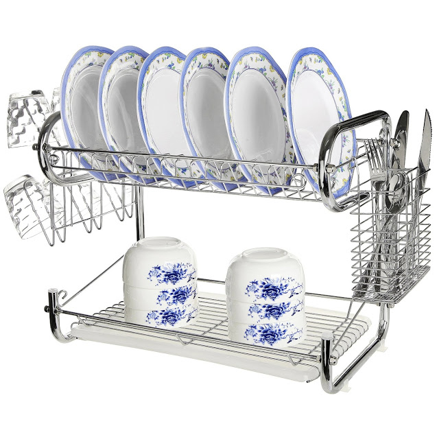 2 Tier Universal Home Kitchen Organizer Chrome Plate Dish Cup Cutlery Drainer Rack Drip Tray Plates Storage Holder