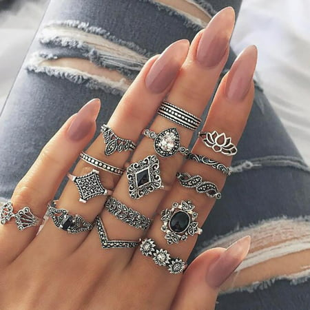 JEFFENLY 15 Pcs Vintage Knuckle Ring Set for Women Girls Stackable Rings Set Hollow Carved Flowers Carved Shell Cameo Ring