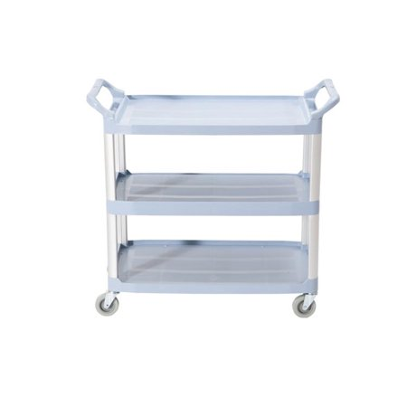 Large Size Utility Cart, Multi-Purpose 3 Shelf Cart with Heavy Duty Plastic Shelves and Oversized Wheels, -