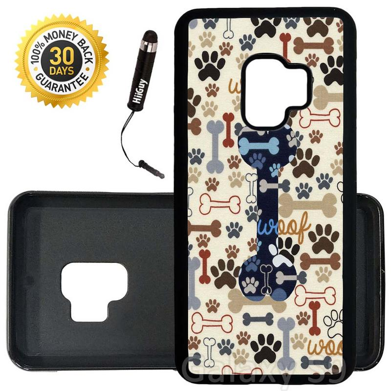 Custom Galaxy S9 Case (Dog Paws And Bone Pattern) Edge-to-Edge Rubber Black Cover Ultra Slim | Lightweight | Includes Stylus Pen by Innosub