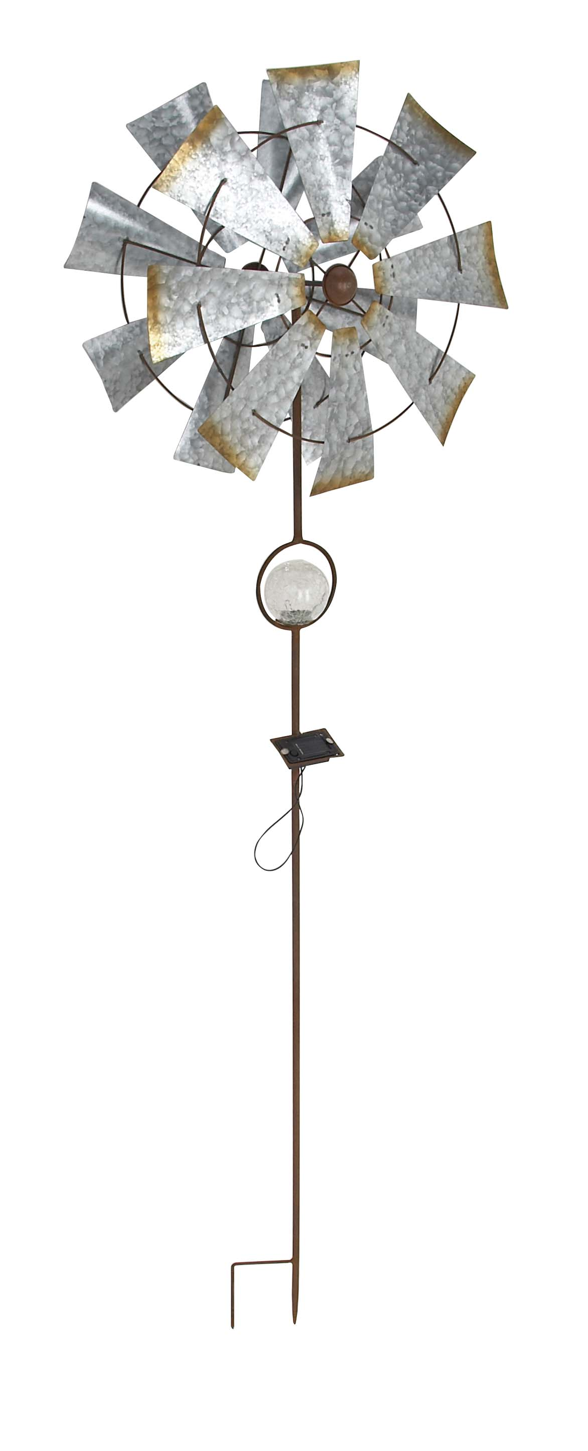 Decmode Rustic Iron Solar 8-Bladed Windmill, Silver by DecMode