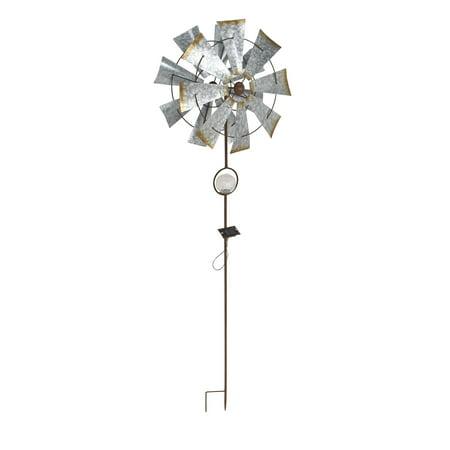 Solar Windmill - Decmode Rustic Iron Solar 8-Bladed Windmill, Silver