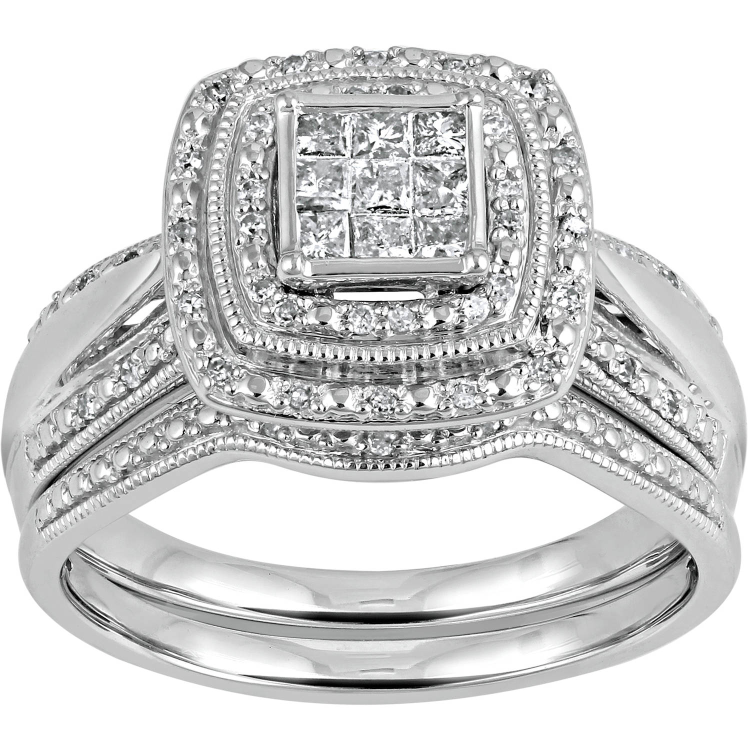 Forever Bride 13 Carat TW PrincessCut Double Halo Sterling