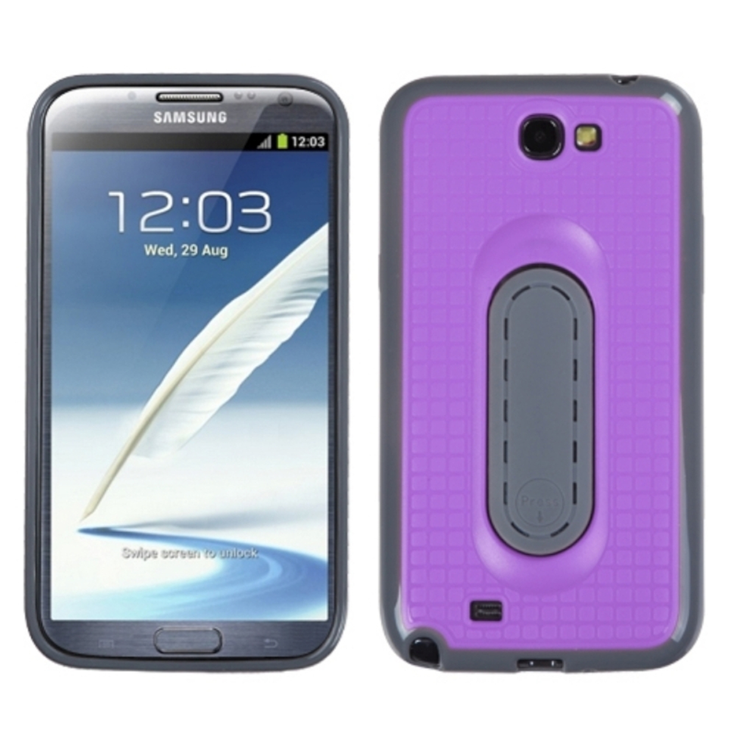 Insten Purple Snap Tail Stand Case (with Package) for SAMSUNG: Galaxy Note II (T889/I605/N7100)