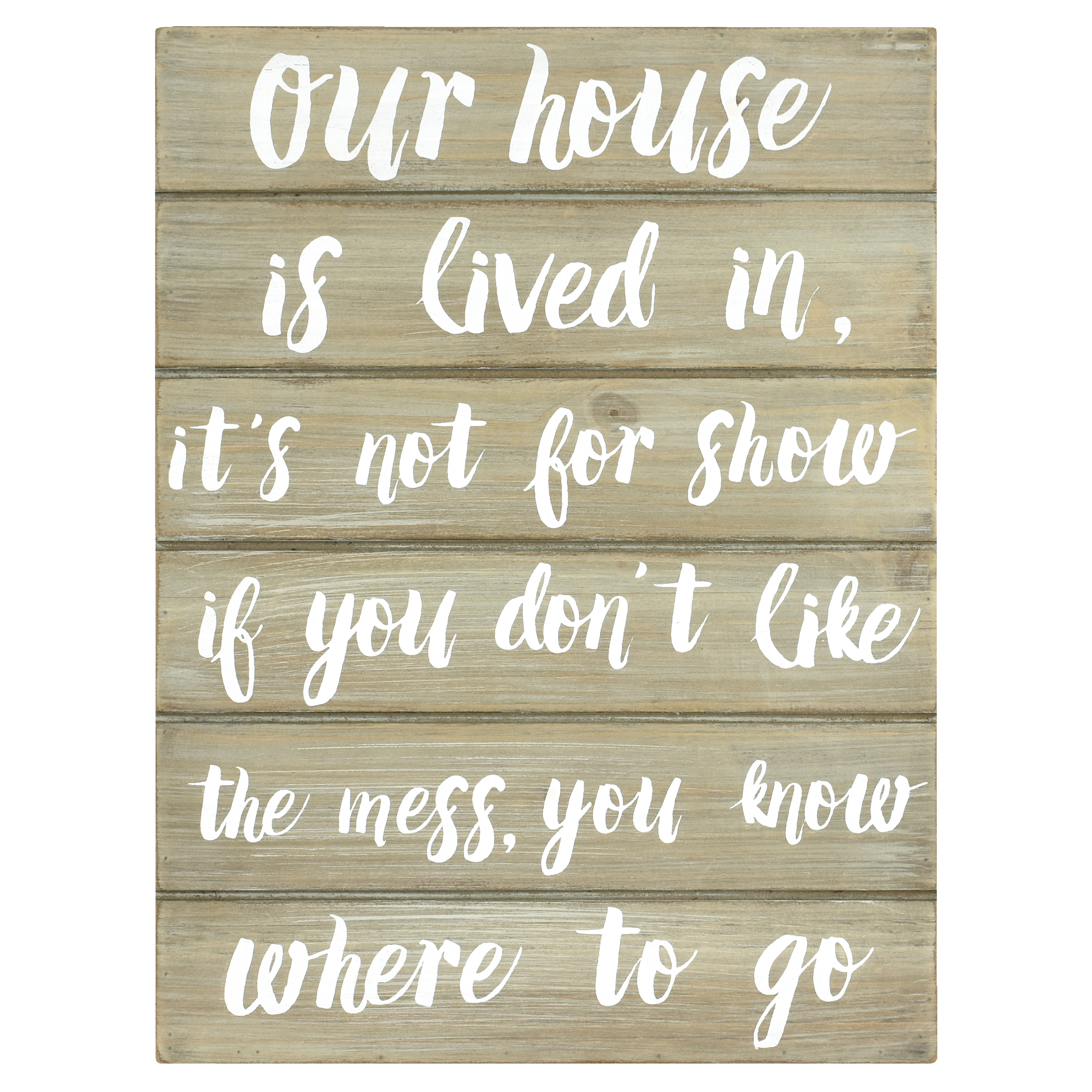 """Better Homes & Gardens 10"""" x 1.5"""" x 13.5"""" Wooden Our House Wall Art, Gray Wash Finish"""