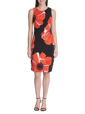 Jumbo Poppy Jersey Sheath Dress