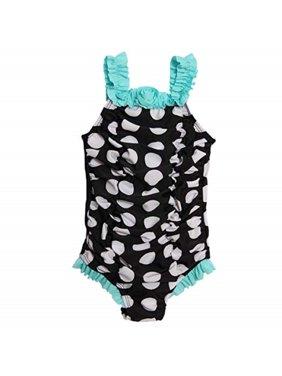 ABSORBA Baby Girls' Polka Swimsuit One Piece, Black, 18 months