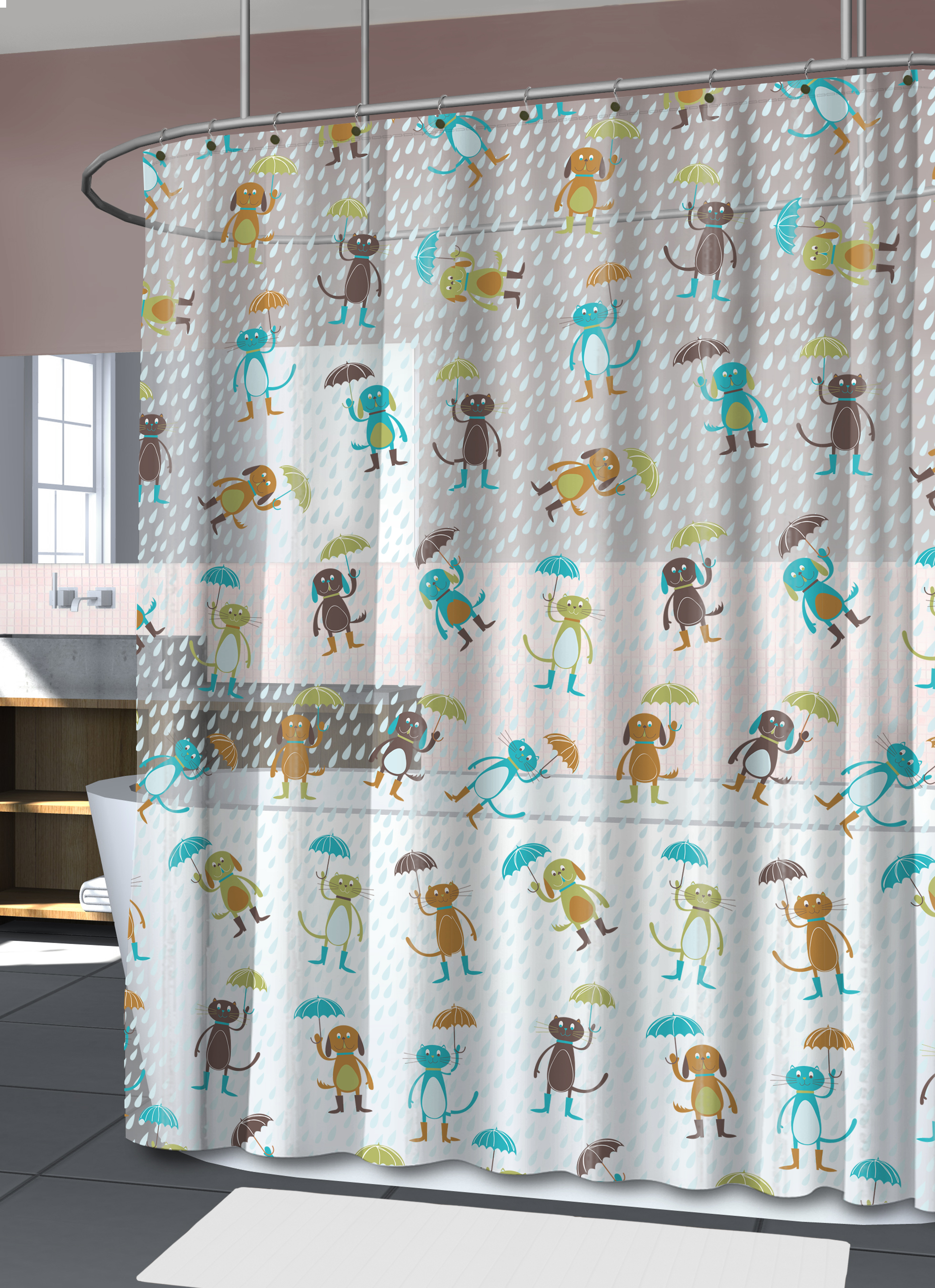 Splash Home Cats Dogs Shower Peva Curtain 72 X 70 Honey Walmart Com Walmart Com