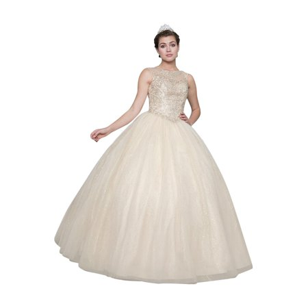 Calla Collection Womens Champagne Open Back Quinceanera Ball Dress