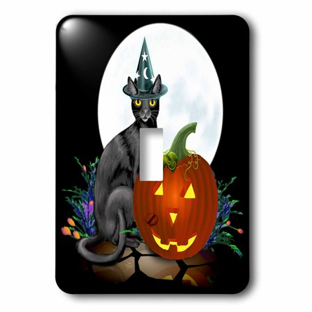 3dRose Witchy Kitty sits next to a glowing JackoLantern on Halloween night beneath the bright full moon, 2 Plug Outlet Cover