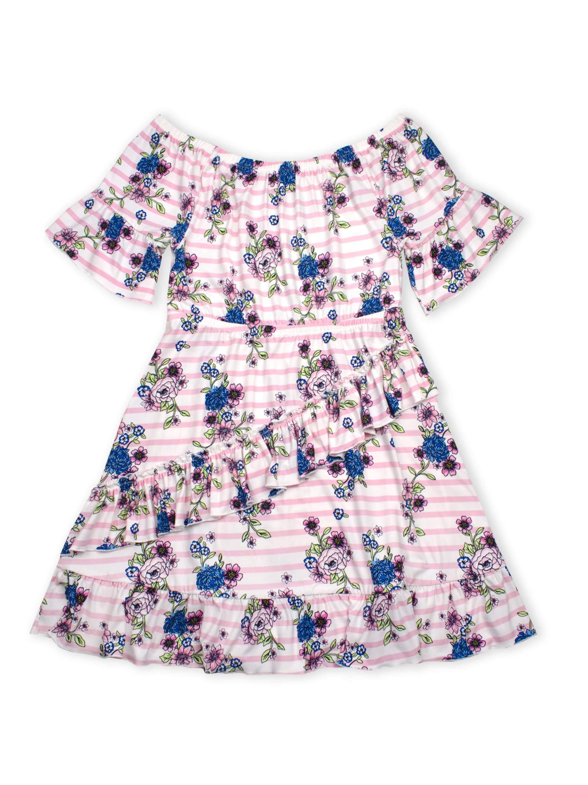 Short Sleeve Ruffled Faux Wrap Dress (Big Girls)