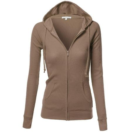 FashionOutfit Women's Basic Slim Fit Lightweight Zipper Drawstring Hooded Jackets