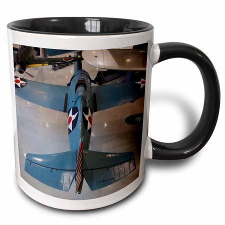 3dRose Florida, Naval Aviation Museum, WWII F4F War plane - US10 WBI0506 - Walter Bibikow, Two Tone Black Mug, 11oz