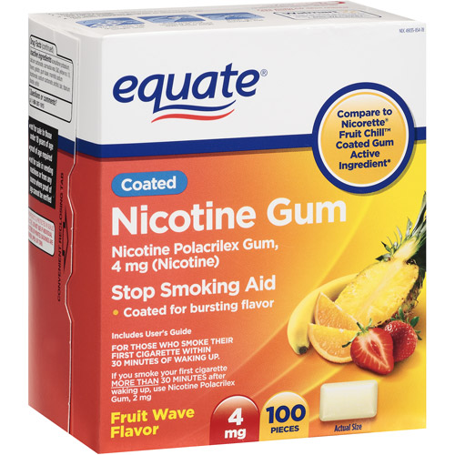 Equate Stop Smoking Aid Fruit Flavored Nicotine Gum 4mg, 100 Pieces